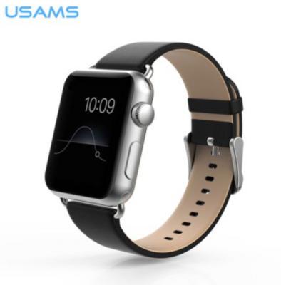 USAMS lederen Apple watch bandje 38mm - zwart