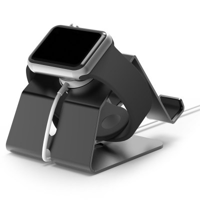 Apple watch & iPhone oplaad standaard aluminium - Zwart