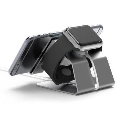 Apple watch & iPhone oplaad standaard aluminium - Zilver
