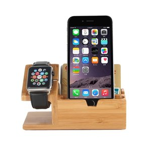 Houten Apple watch / iPhone houder - Bamboe (incl. USB poorten)